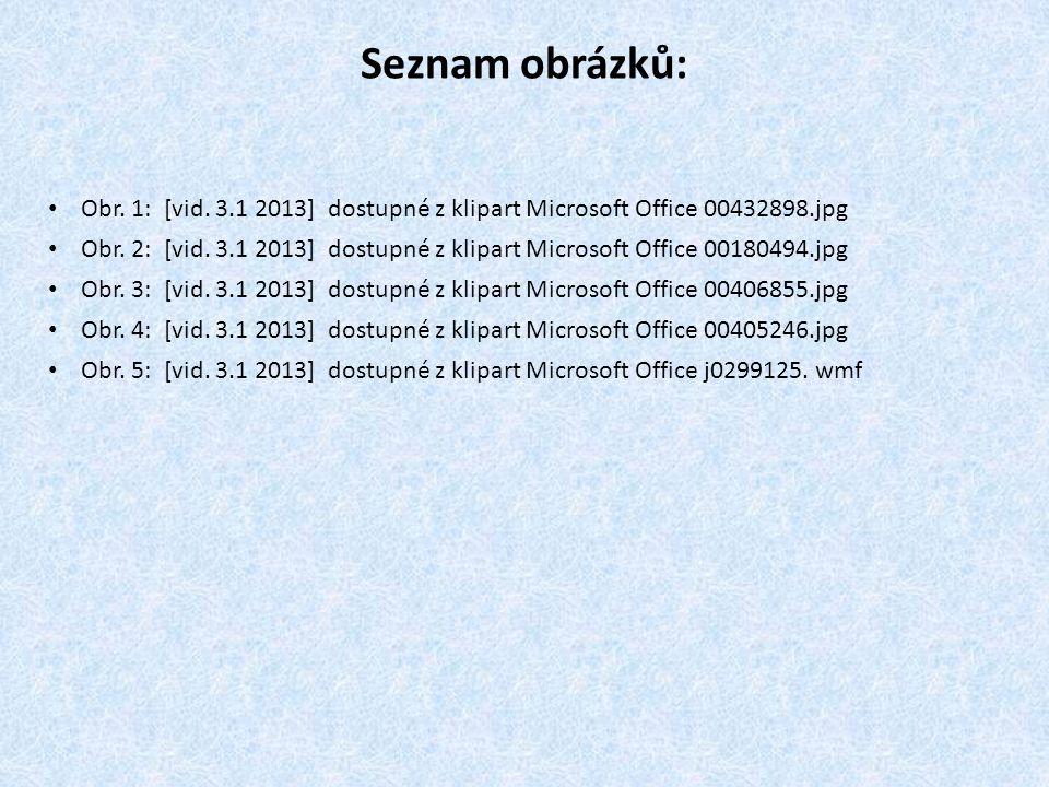 Seznam obrázků: Obr. 1: [vid. 3.1 2013] dostupné z klipart Microsoft Office 00432898.jpg.